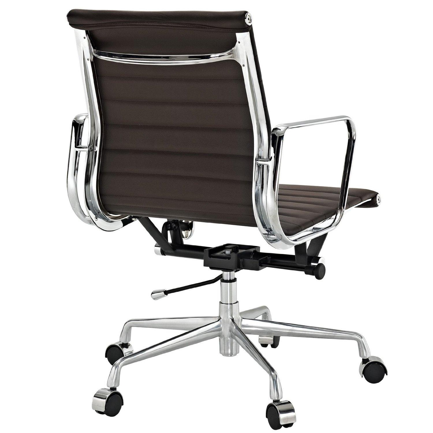Amazon Ribbed Mid Back fice Chair in Brown Genuine Leather
