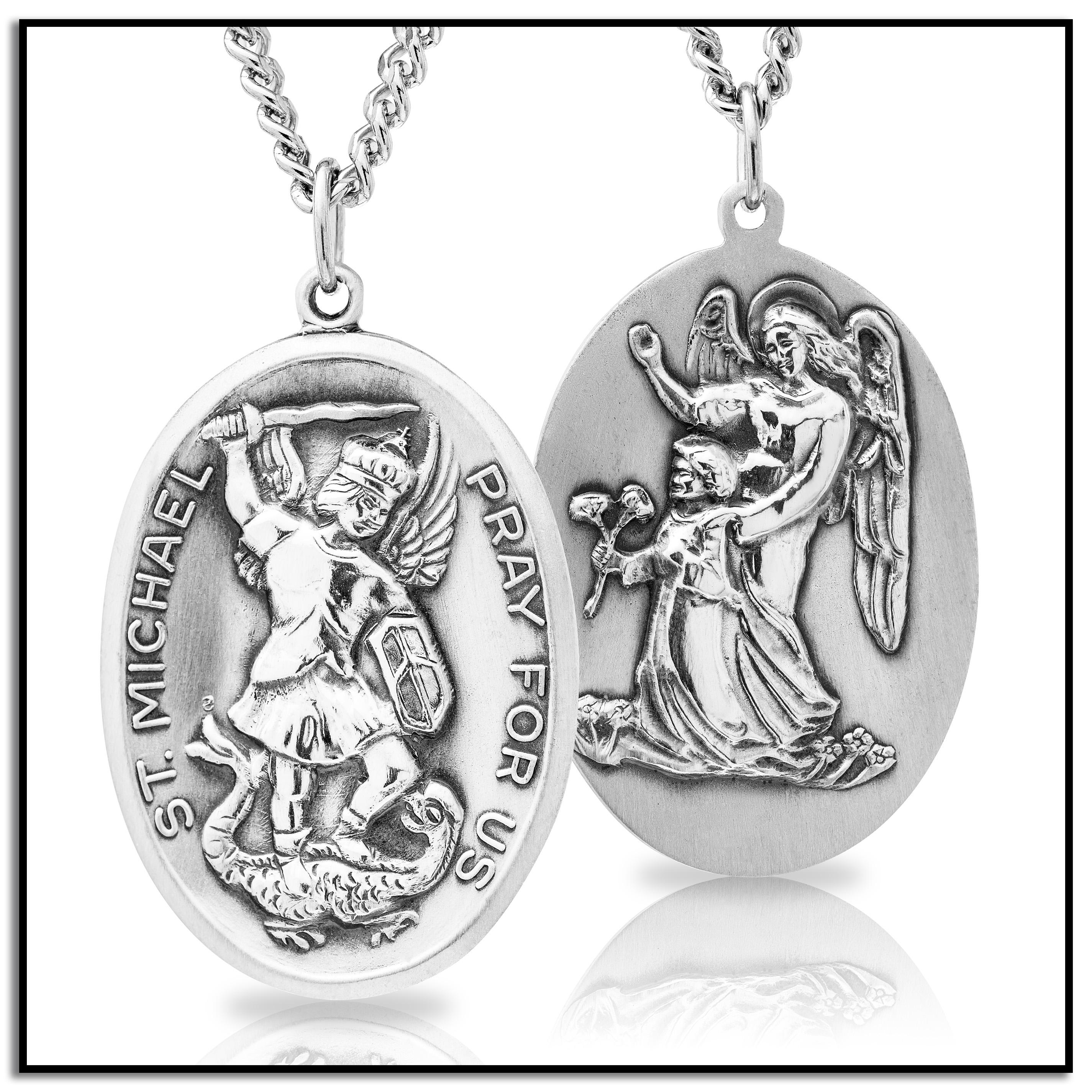 medal catholic gold traveler and pendant talisman saint christopher michael pin jewelry archangel plated french