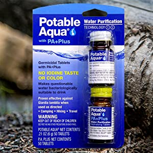 Potable Aqua, iodine, purification