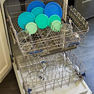 anchor hocking; glass; glassware; food storage; plastic lids; round; blue lids; dishwasher safe