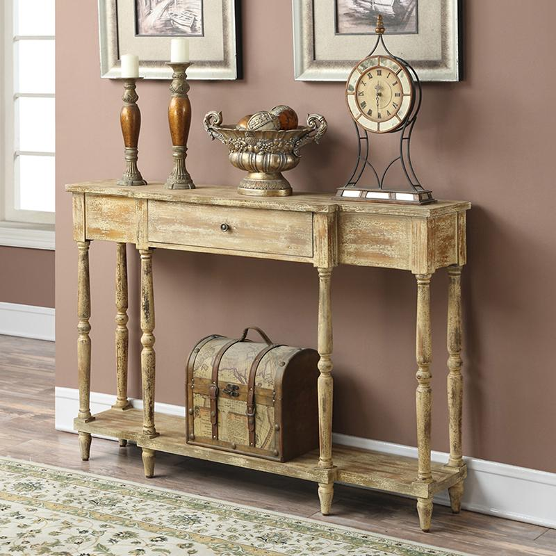 Delightful Rustic Wooden Console Hall Table. View Larger