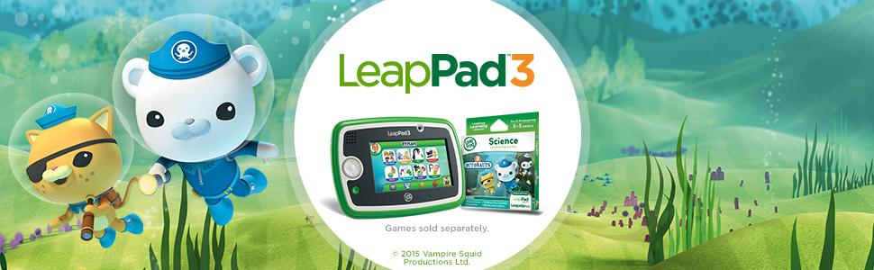 The picture of animated characters playing along with their LeapFrog-LeapPad 3