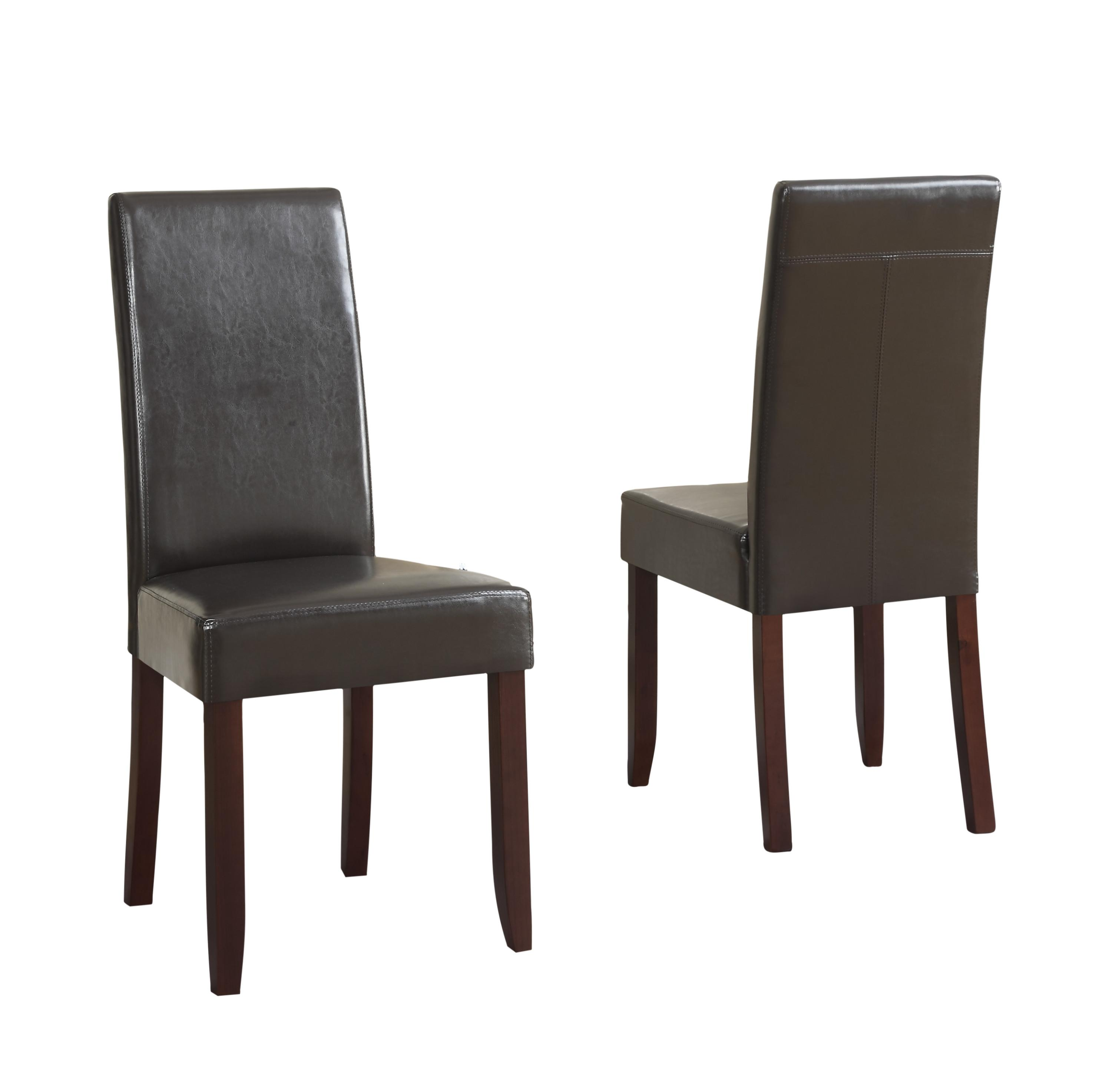 leather parson dining chairs dark brown set of 2 kitchen dining