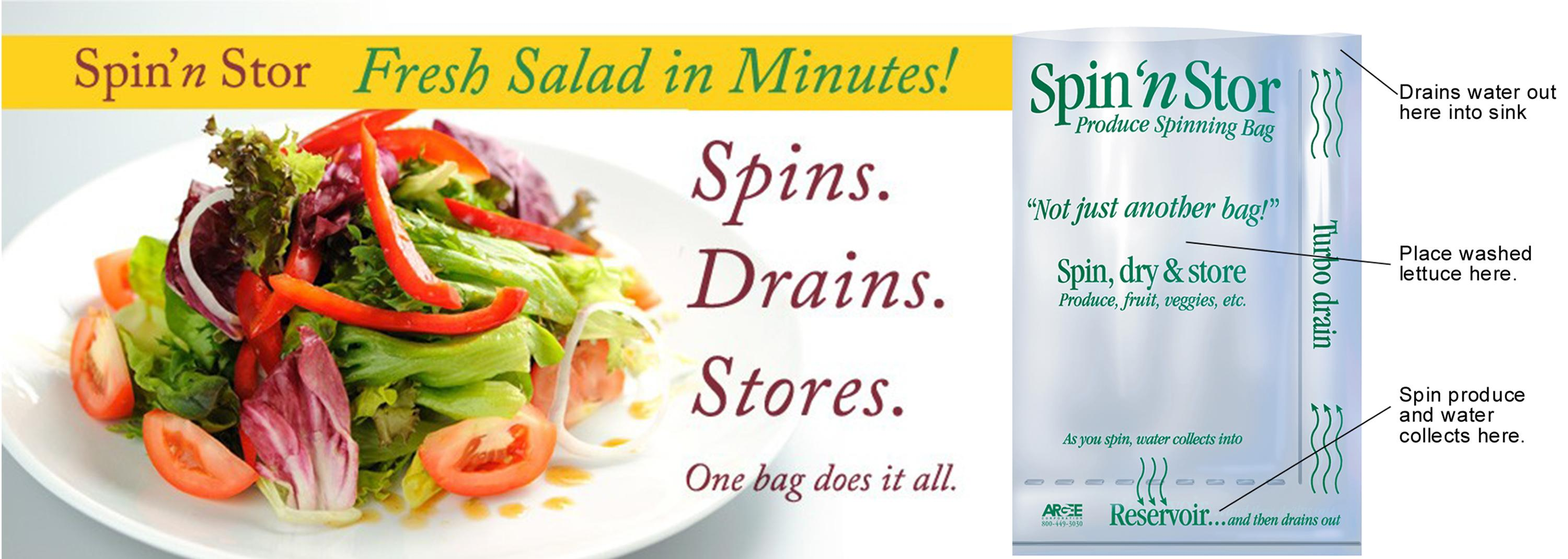 Amazon.com: Spin\'n Stor Reusable Salad Spinning and Storage Bags, 12 ...