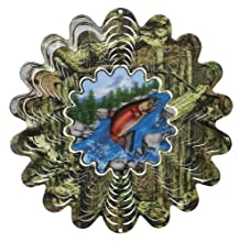 Iron Stop Mossy Oak Animated Salmon Wind Spinner