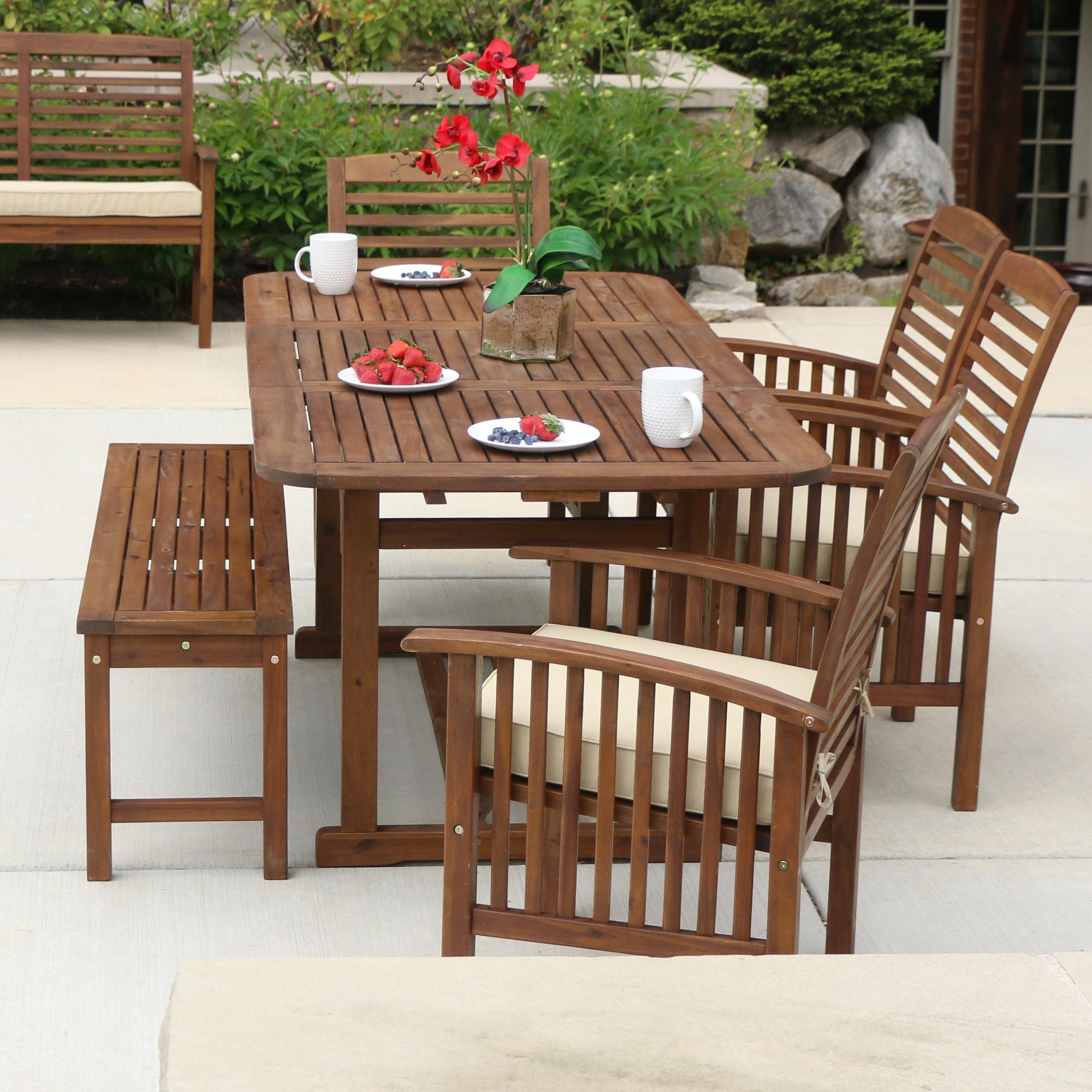 acacia wood 6 piece patio dining set outdoor and patio furniture