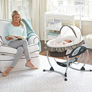 Gliding swing with 6 speeds 2 recline positions 2 vibration speeds and light-shielding canopy holds an infant 5.5 to 30 pounds.  sc 1 st  Amazon.com & Amazon.com : Graco Soothing System Baby Glider Abbington : Baby islam-shia.org