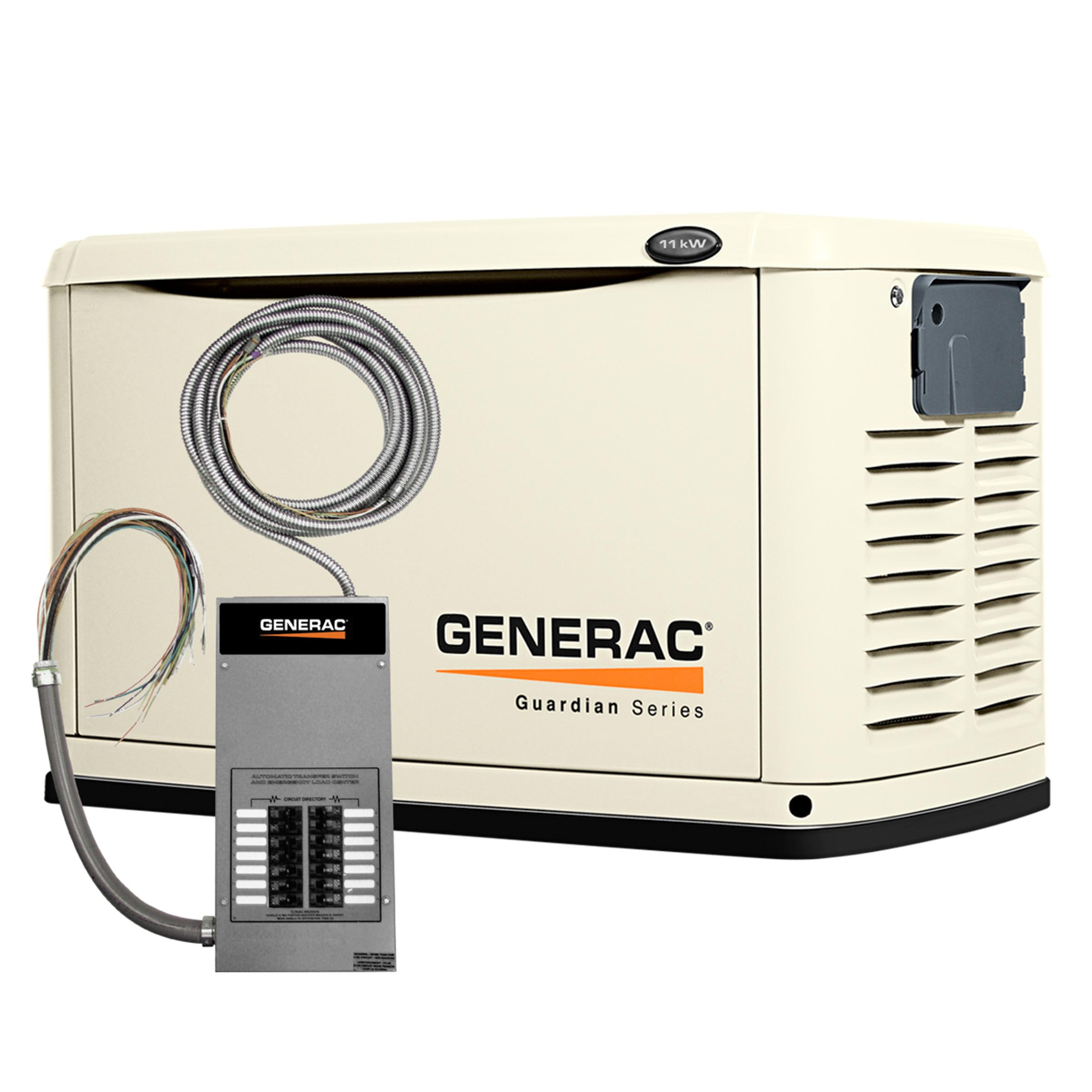not CUL Generac 7033 Guardian Series 11kW//10kW Air Cooled Home Standby Generator with Whole House 200 Amp Transfer Switch
