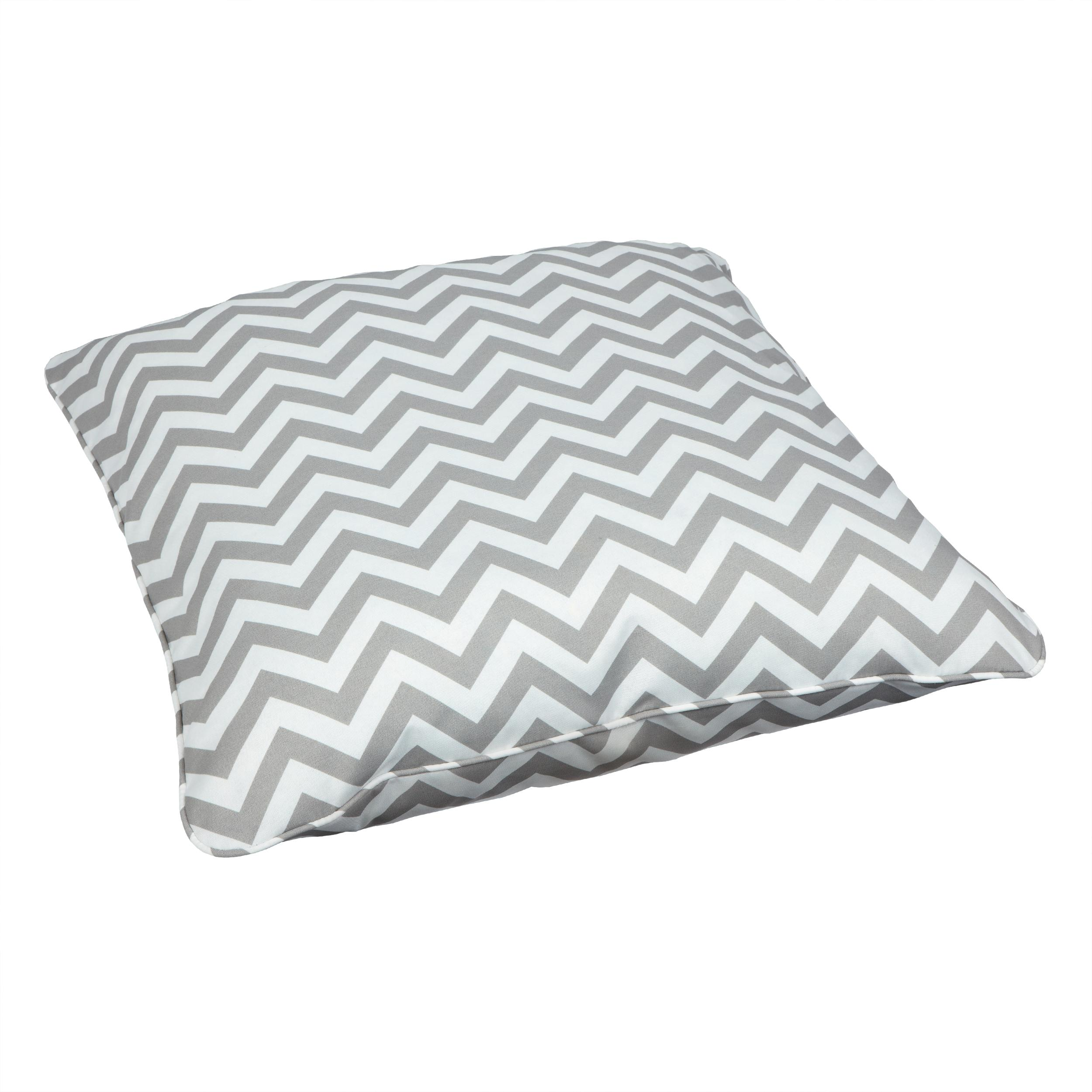 Gray Floor Pillows : Amazon.com : Mozaic Sabrina Corded Indoor/Outdoor 26-Inch Floor Pillow, Large, Chevron Grey ...