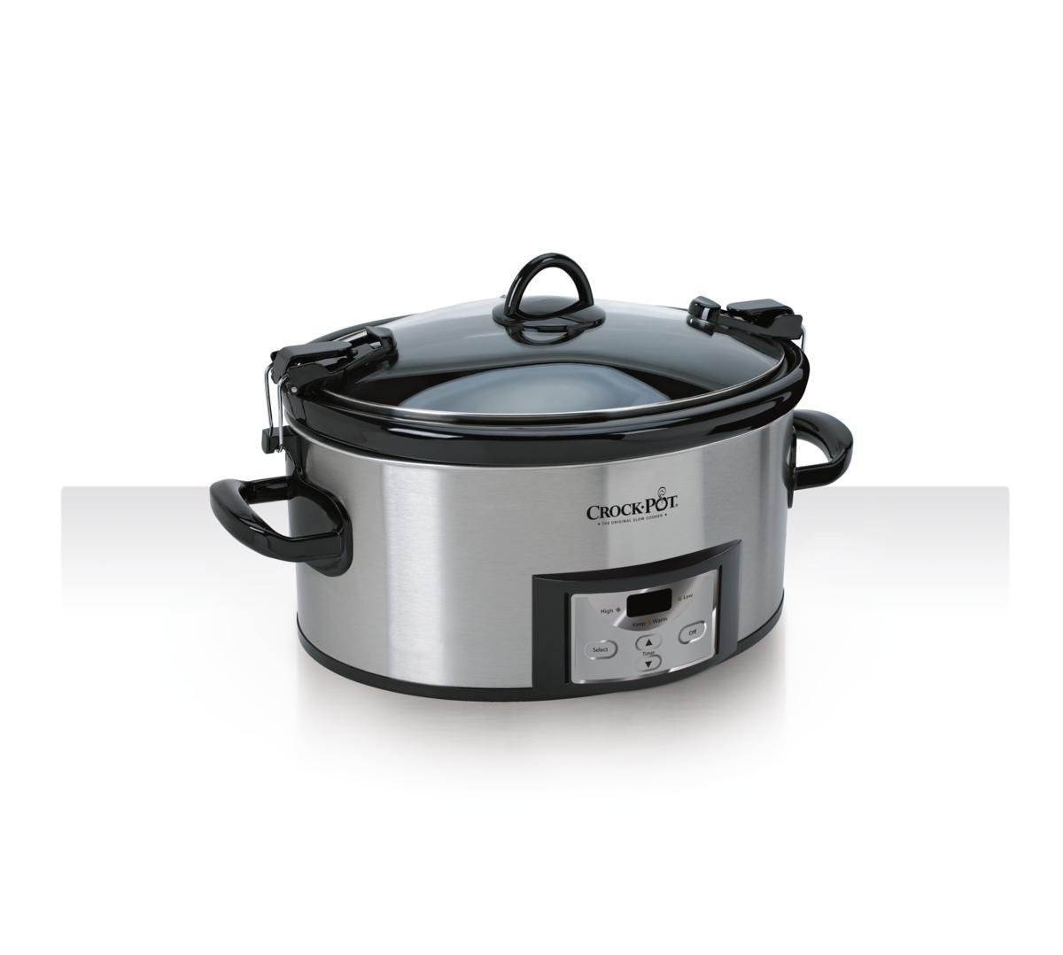 crock pot oval slow cooker with handles 6 quart stainless steel timer digital ebay. Black Bedroom Furniture Sets. Home Design Ideas