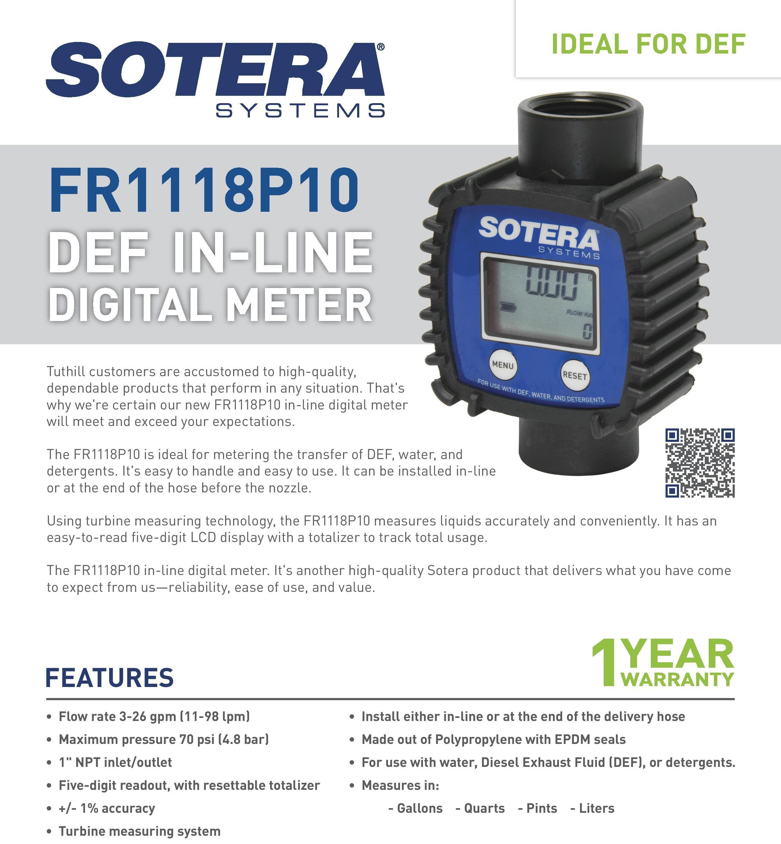 Inline Gas Flow Meter : Sotera fr p inline flowmeter digital blue black