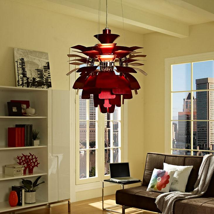 Amazon modway 24 petal chandelier modern lamp in red home view larger aloadofball Image collections