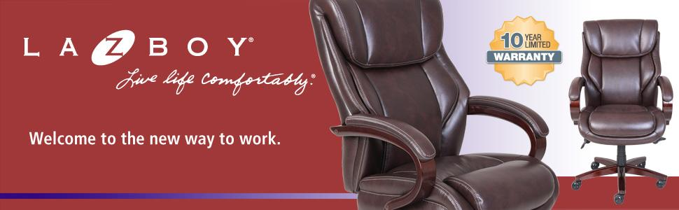 lazboy, bellamy, comfort core, executive office chair, coffee brown