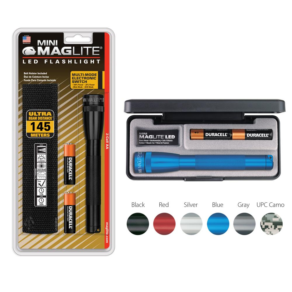 Maglite Mini Led 2 Cell Aa Flashlight With Holster Black