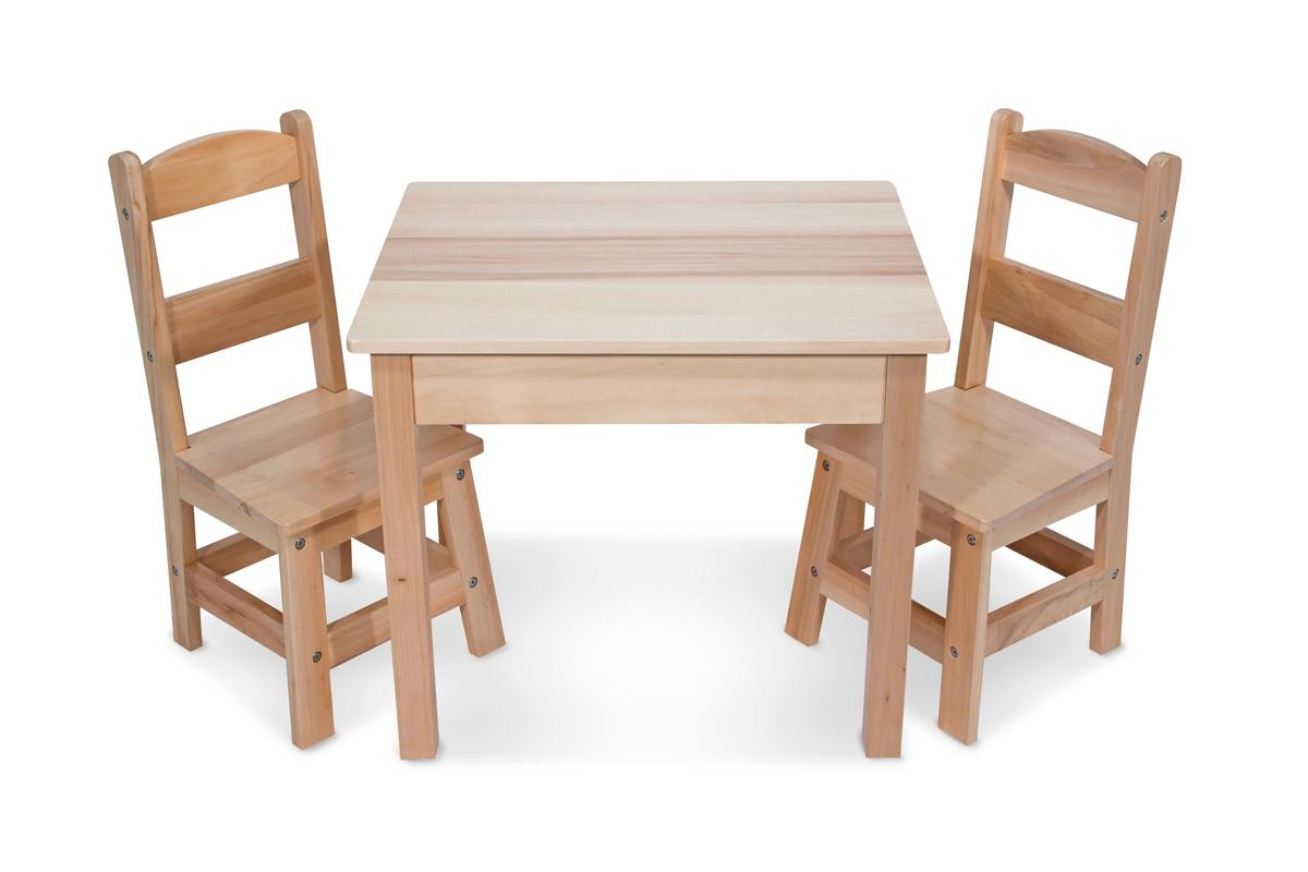 Melissa doug solid wood table and 2 chairs set light finish furniture for Wooden childrens furniture