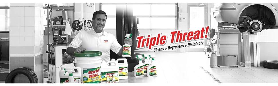 spray nine, degreaser, cleaner, disinfectant, household cleaner