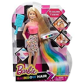 Amazon Com Barbie Rainbow Hair Doll Toys Games