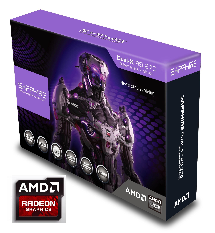 Sapphire Radeon R9 270 2GB GDDR5 DVI-I/DVI-D/HDMI/DP Dual-X with Boost and  OC Version PCI-Express Graphics Cards 11220-00-20G