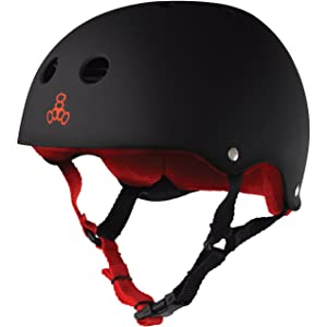 Triple Eight Helmet with Sweatsaver Liner, Black Rubber with Red Liner
