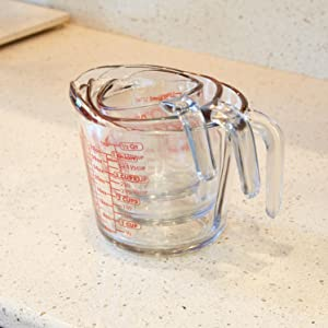 anchor hocking; glass; glassware; measuring cups; 1 cup; 2 cup; 4 cup; set; prep; easy storage; nest