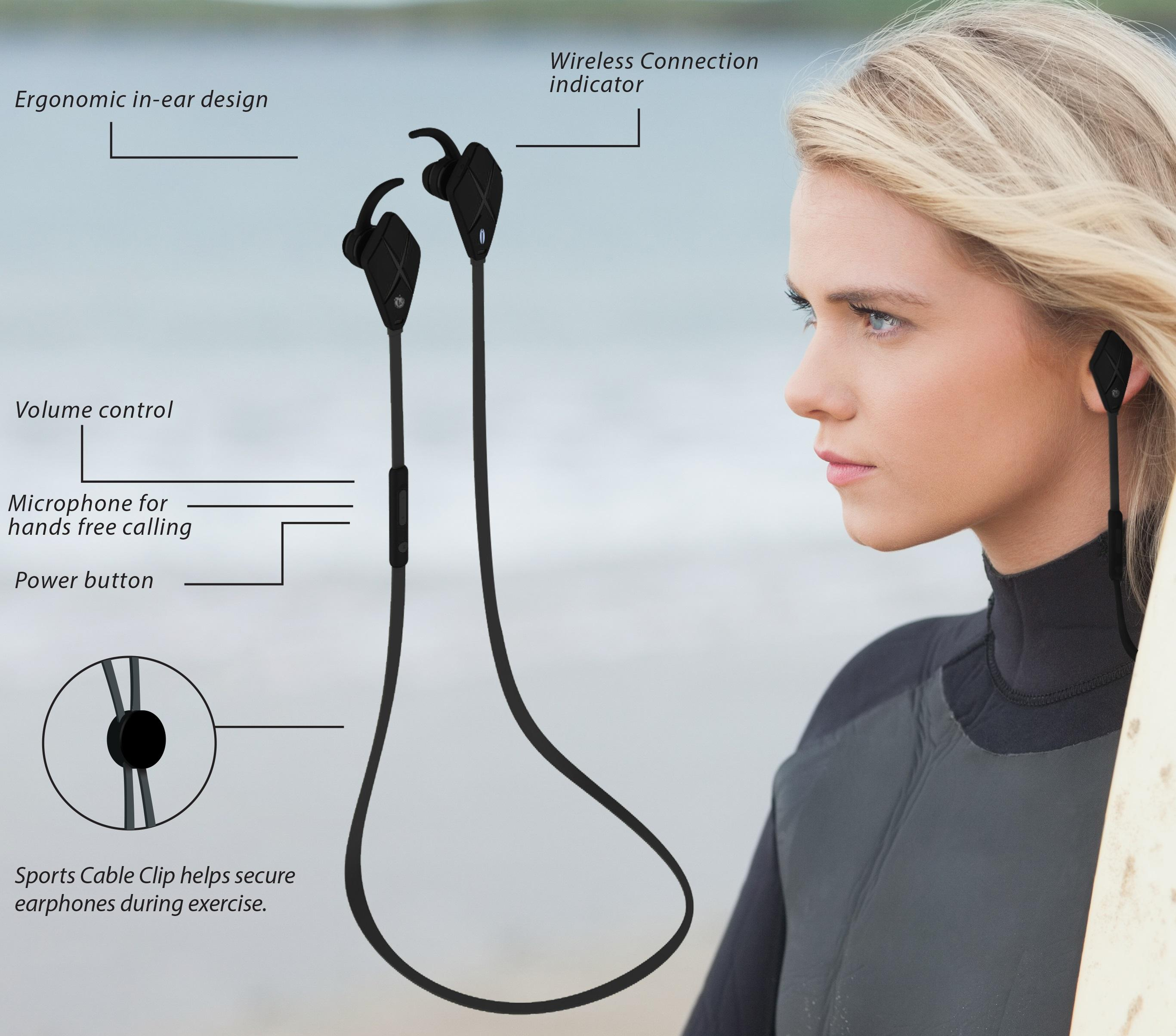 Visiontek Aerial Bluetooth Wireless In Ear Headphones Headphone With Volume Control Wiring Diagram Get Free Image About Earphones For Your Active Lifestyle
