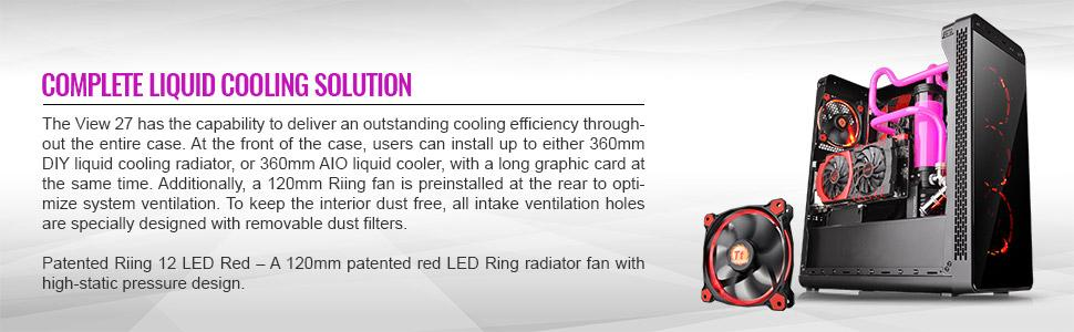 liquid cooling, water cooling, thermaltake, riing fan, led can, red led case fan
