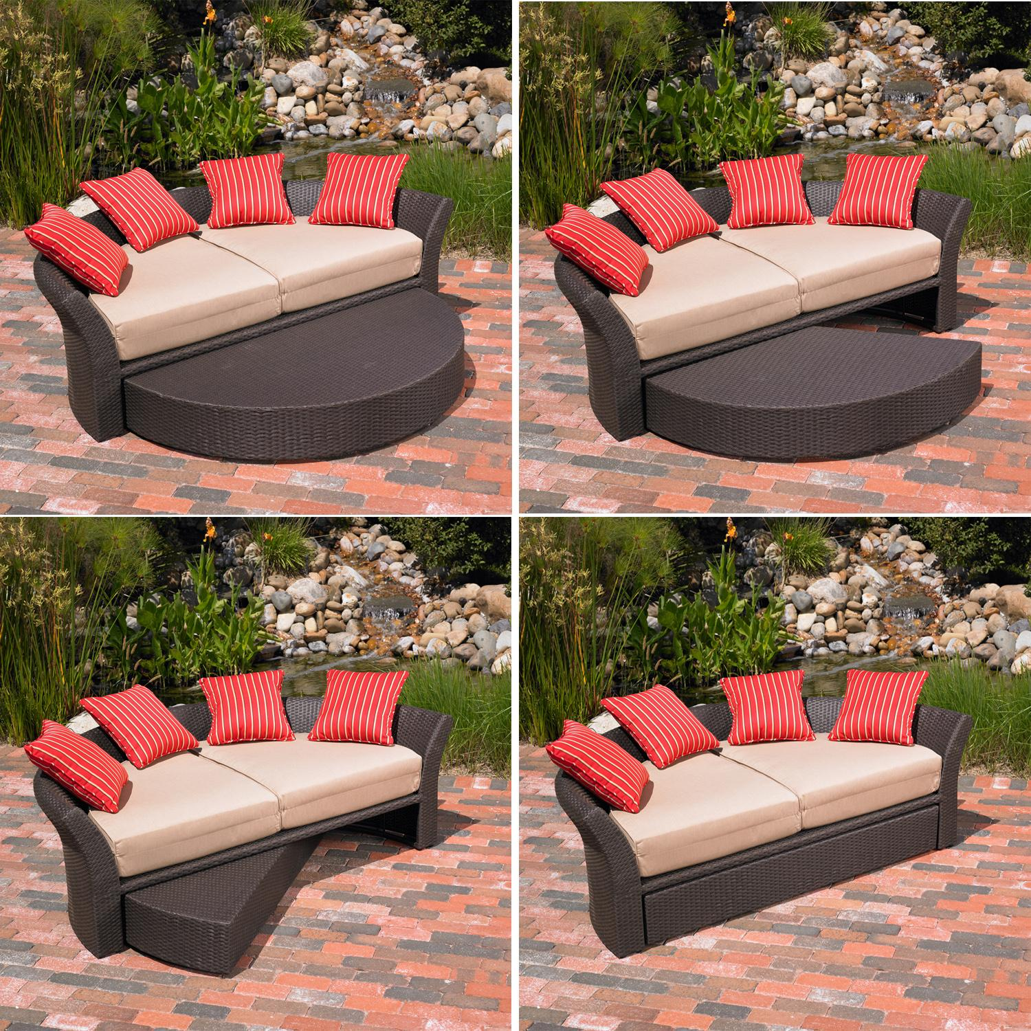 Amazon Mission Hills Corinth Daybed Sunbrella Outdoor Patio Round Brown