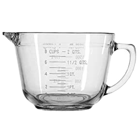 anchor hocking; glassware; glass; batter bowl; easy to grip; mix; measure; baking; pouring