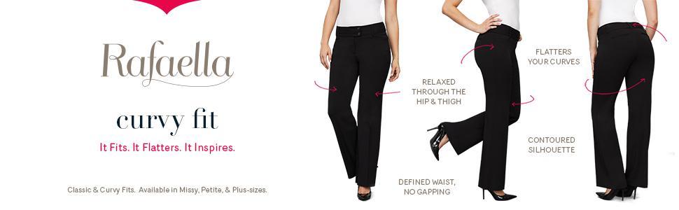 0259a8214d1 Rafaella Women s Curvy Fit Short Length Gaberdine Trouser Navy