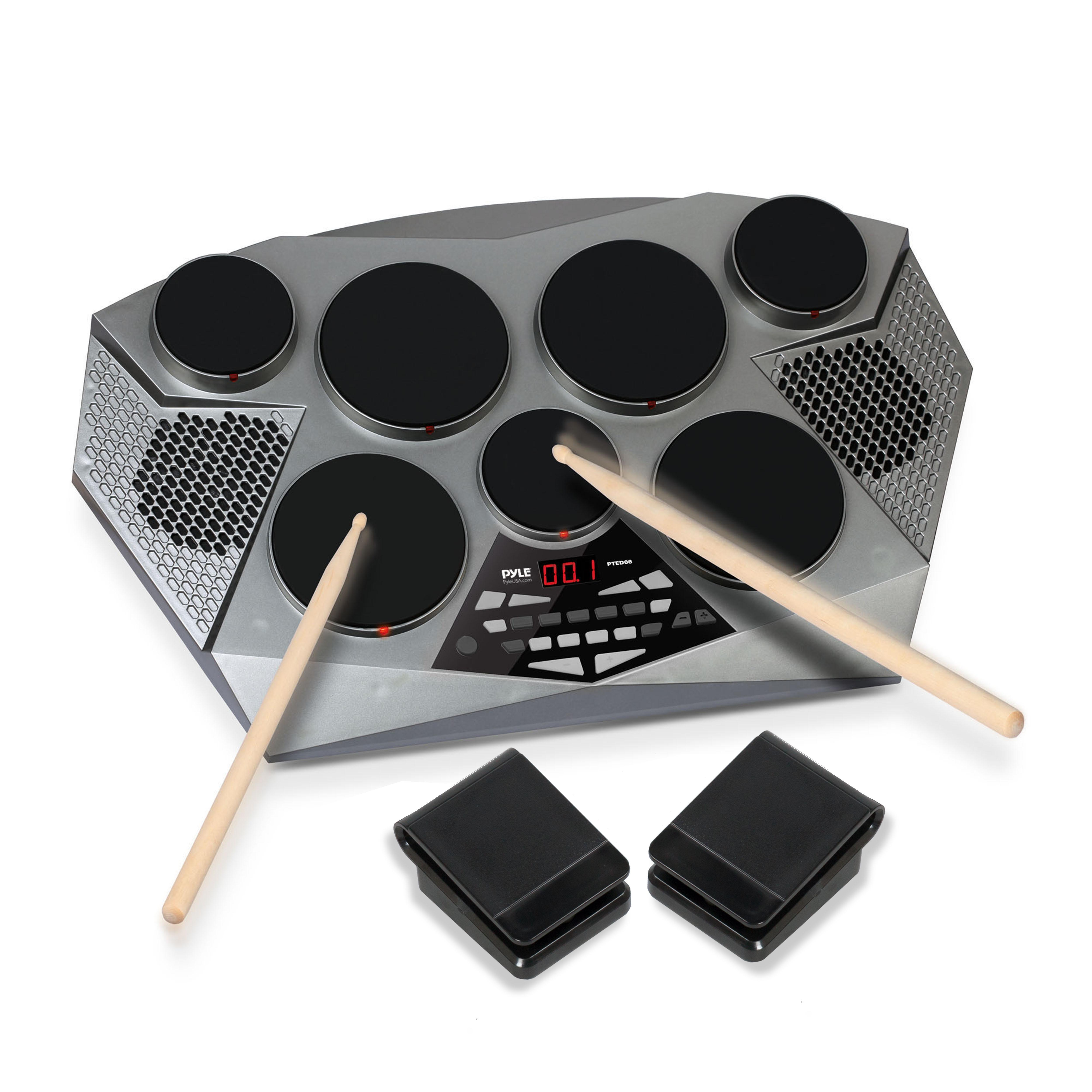 pyle electronic drum set pad with built in speakers foot pedals and drum sticks kit. Black Bedroom Furniture Sets. Home Design Ideas