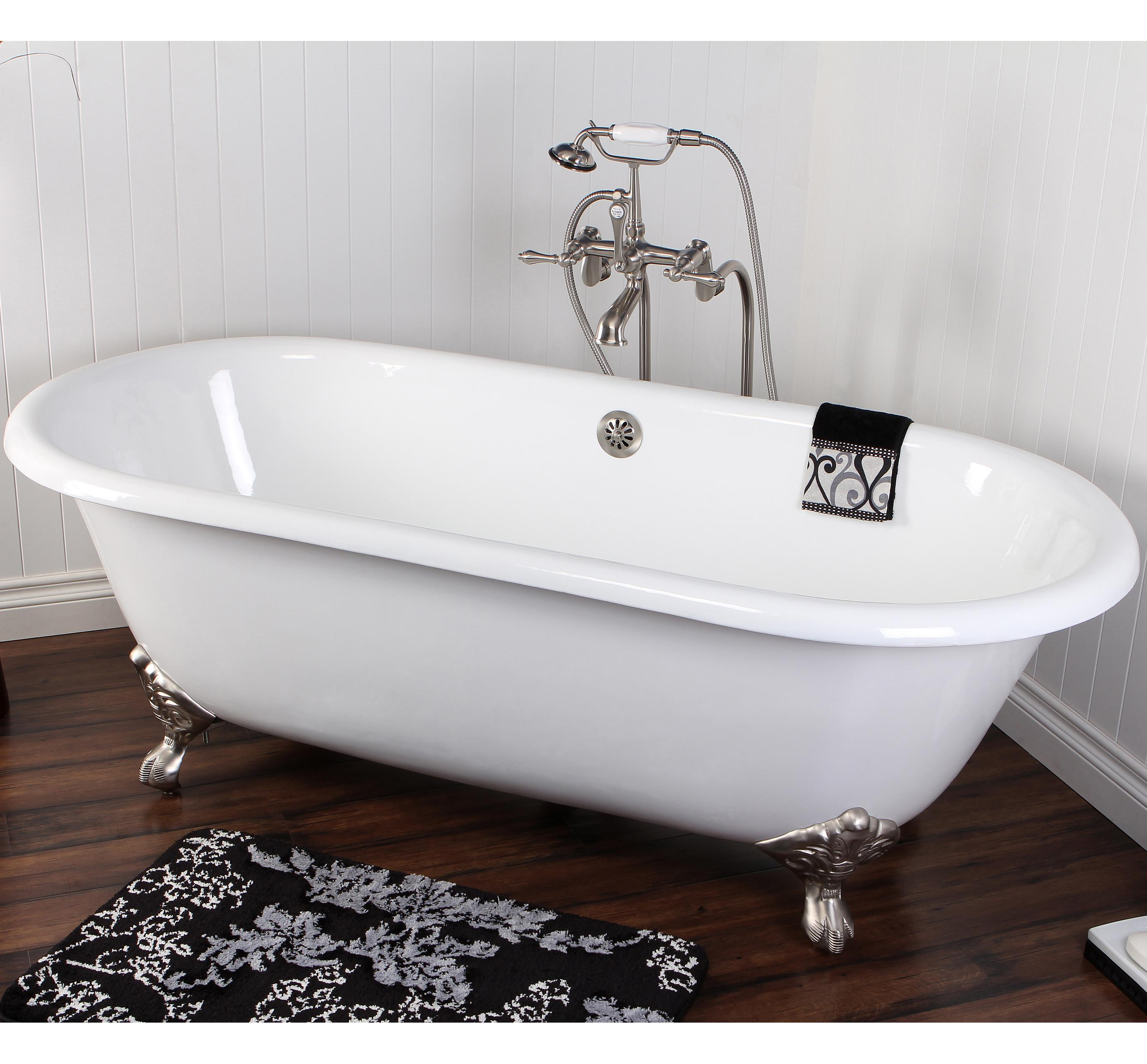 kingston brass aqua eden vctnd663013nb1 cast iron double ended clawfoot bathtub with chrome feet. Black Bedroom Furniture Sets. Home Design Ideas