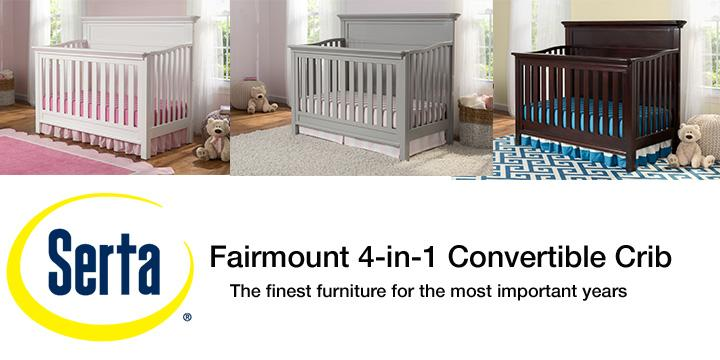 Amazon Com Serta Fairmount 4 In 1 Convertible Baby Crib