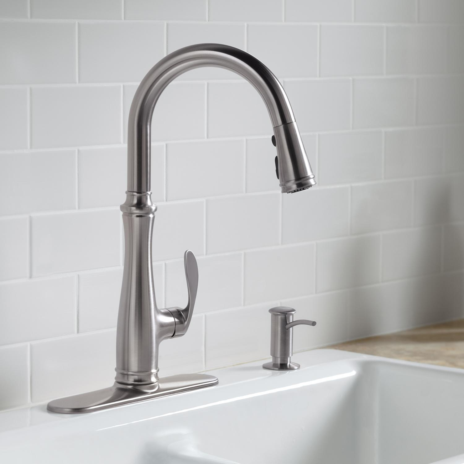 Kohler K  Vs Bellera Pull Down Kitchen Faucet Vibrant Stainless Steel
