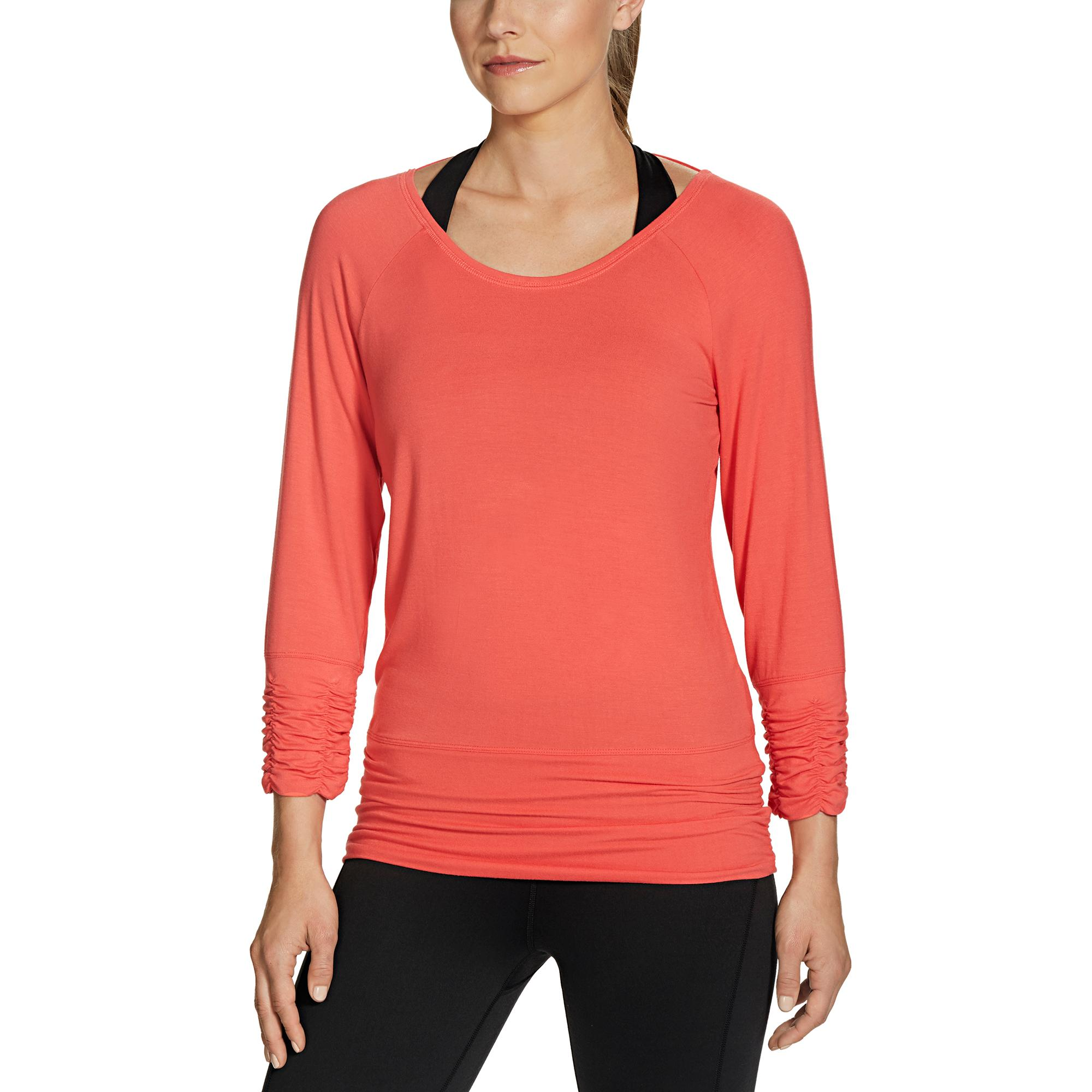 Gaiam Apparel Womens Clover Long Sleeve Tee Sports Jfashion Plaid Tunik Camelia Merah View Larger