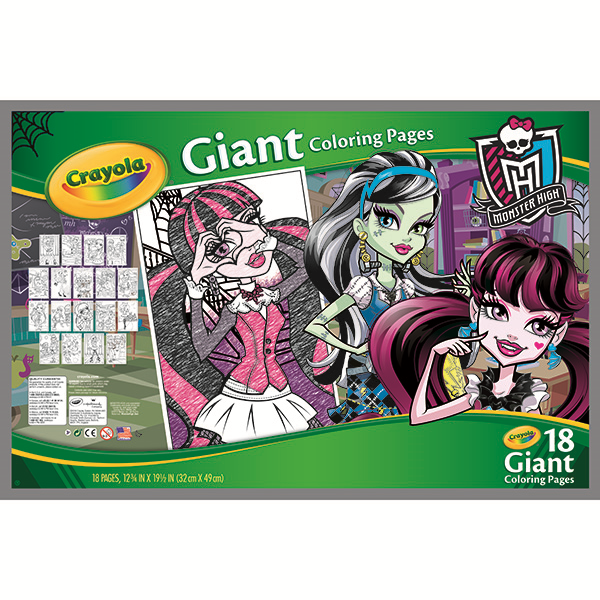 crayola giant coloring pages monster high back packaging image - Giant Coloring Book