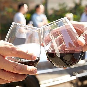 Chinet disposable shatterproof Govino Taza Royal Ridel red wine glass flute tumbler stemless wine