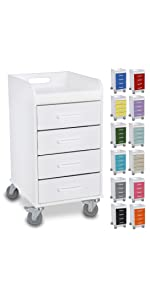 cart, drawer, colored, white, compact, under counter, mobile, lab, hospital, clinic