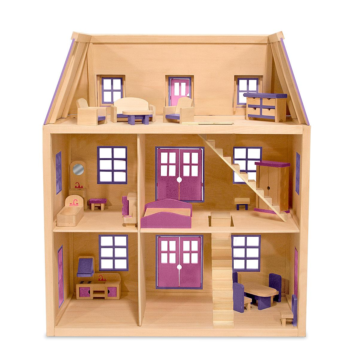 Melissa doug multi level wooden dollhouse with 19 pcs furniture melissa doug Dollhouse wooden furniture