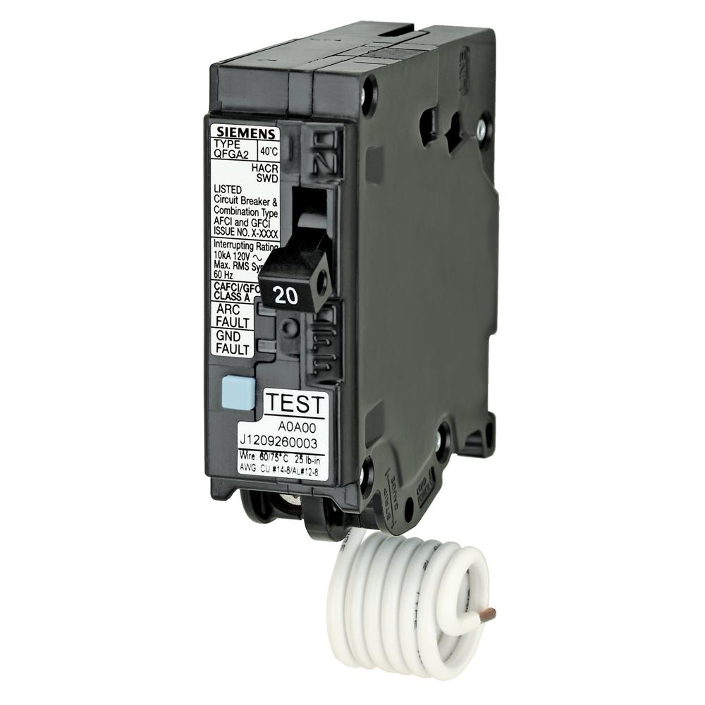 Siemens Ground Fault Circuit Interrupter Not Lossing Wiring Diagram Q120df 20 Amp Afci Gfci Dual Function Breaker Plug Rh Amazon Com
