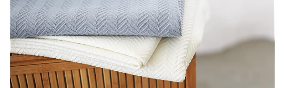 Amazon Com Pinzon Egyptian Cotton Herringbone Blanket King Cream