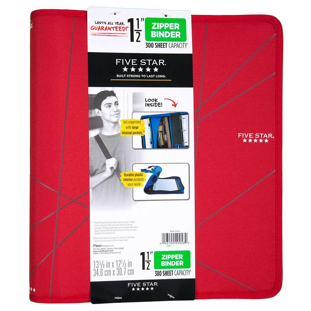 Amazon.com : Five Star 1-1/2 Inch Zipper Binder, Ring