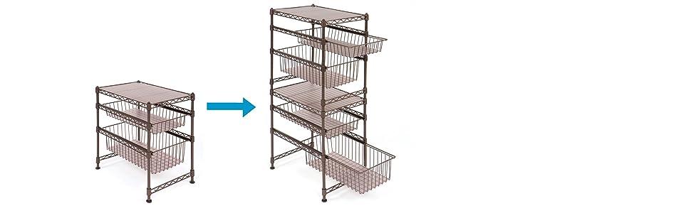 Amazon.com - Seville Classics Double Basket Stackable Cabinet ...