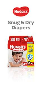 Available in diapers size 1 to size 6, Huggies Snug & Dry are our value diapers for almost any baby.