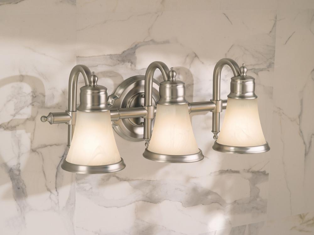 Portfolio 3 Light 22 In Brushed Nickel Bowl Vanity Light: Moen YB9863CH Waterhill 3-Light Dual-Mount Bath Bathroom