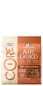 dry cat food, air dried cat food, 2 lb bag, cat food topper, cat treat, no meat by-products, CORE
