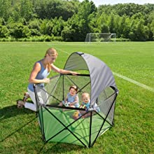 The Addition Of Pop N Play Portable Playard Canopy Helps Protect Baby From Suns Harmful UVA And UVB Rays Attaches Easily To Your