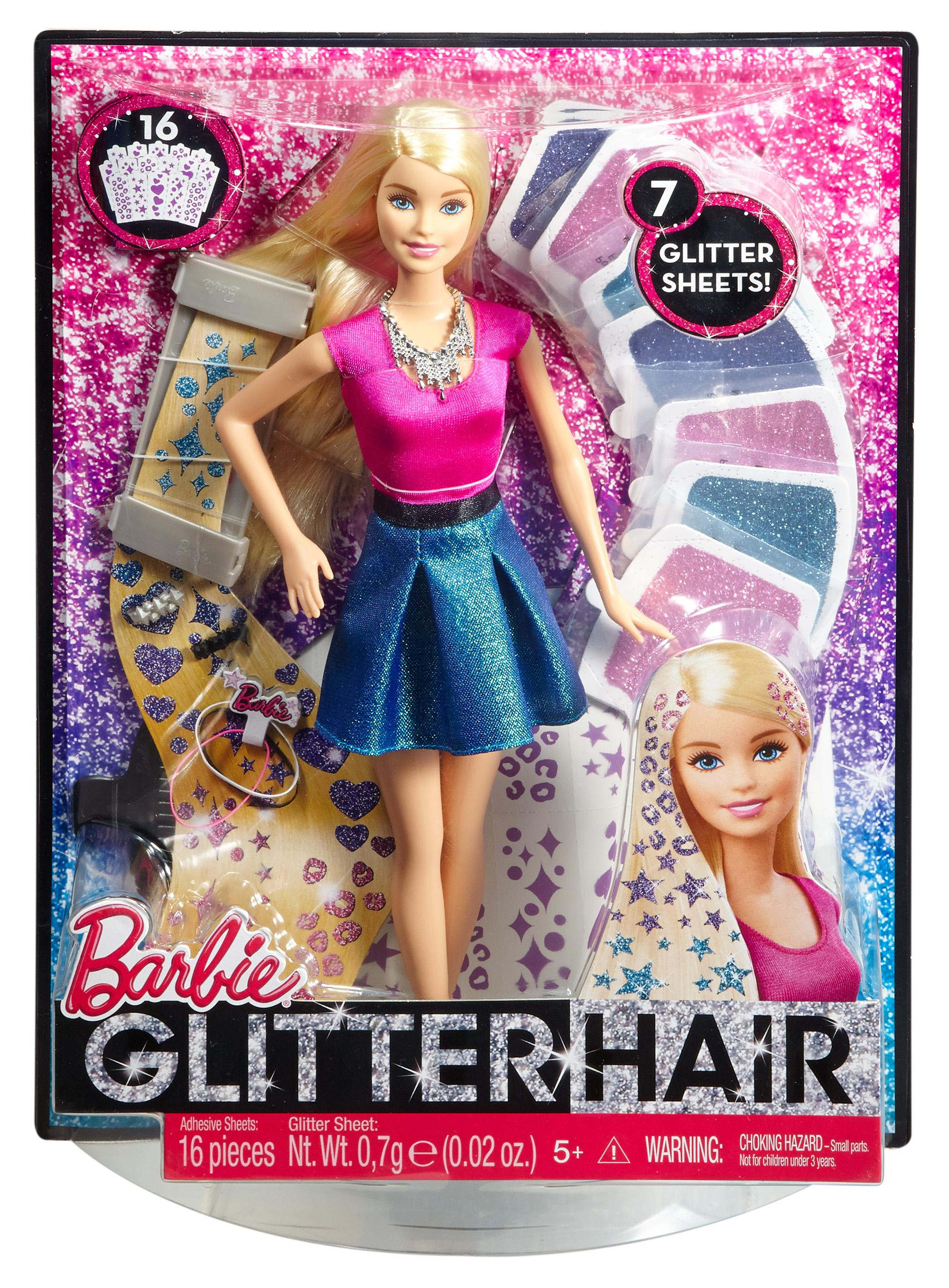 Amazon.com: Barbie Glitter Hair Design Doll: Toys & Games