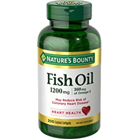 Nature's Bounty Fish Oil 1200 mg Odorless, 200 Coated Softgels