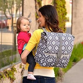 jj cole backpack diaper bag gray floret diaper tote bags baby. Black Bedroom Furniture Sets. Home Design Ideas