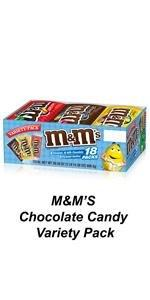 Share a box of M&M'S Full Size pouches in assorted chocolate candy flavors.